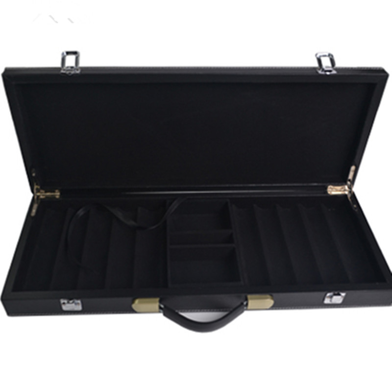 ФОТО New luxury man gift good quality professional portable black leather counter box 300 code yard box chip poker carrying cases bag