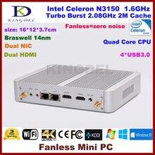 Тонкий клиент, неттоп ПК Intel Celeron N3150 Малый домашнего компьютера, 8 ГБ Оперативная память + 128 г SSD, 2 * HDMI, 2 * lan, 4 * USB 3.0, Windows 10
