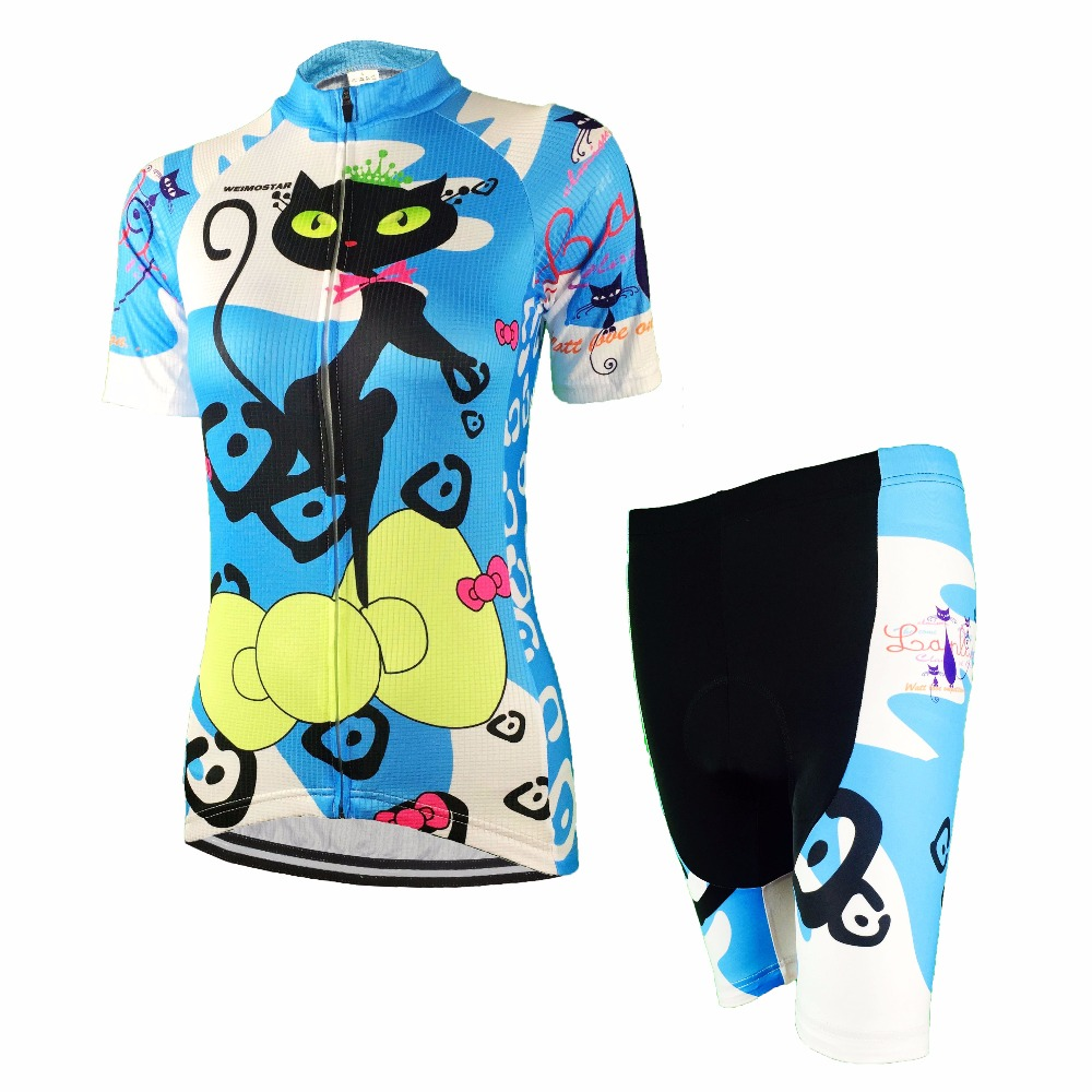 Cycling Jersey Women Shirt +shorts For Lady Bike Padded Wear Bicycle Set Short Sleeve Sport Road Bike Shorts Suit Cat Pink Blue