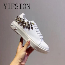 YIFSION New Fashion White Genuine Leather Women Flat Shoes Round Toe Lace Up Crystal Women Shoes Casual Flat Shoes Woman