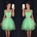 Mint green Yellow Puffy Party Dress Crystal Homecoming Cocktail Dress Backless Mini Short Prom Dress vestido de formatura