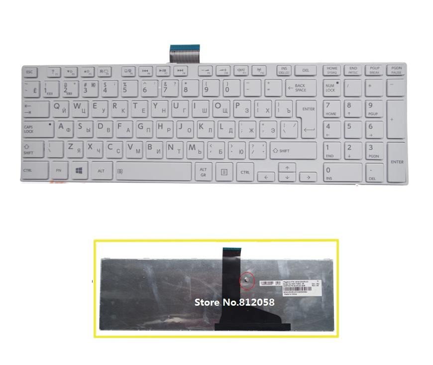 SSEA New Russian Keyboard white for Toshiba satellite C850 L850 C855 C870 C875 L875 L850D L855 L950 L955 RU Keyboard image