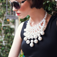 Fashion Statement Necklace Jewelry Wedding Decoration Perfectly Round Imitation Pearl Chain Women Necklaces SN135
