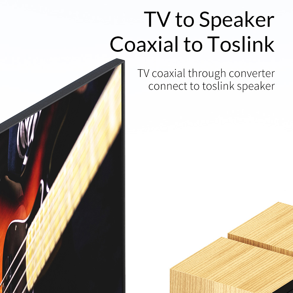 Unnlink Optical Toslink To Coaxial Bidirectional Audio Converter HiFi 5.1 DTS Dobly AC-3 192KHZ SPDIF Coaxial to Toslink for TV