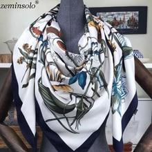 Fashion Design Square Silk Scarf Women Scarves Foulard Floral Bandana Ladies Shawls Hijab Elegant Headband Ring 130*130cm