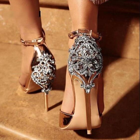 Chaussures de mariage Champagne Sexy strass décoration chaussures de mariée bout ouvert été talons hauts femmes pompes brillantes