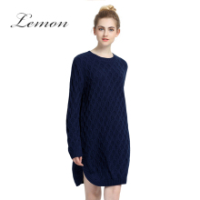 Lemon New Fashion Sexy Sweet Women Sweater Dress Navy Blue Casual Loose Side Split Female Vestidos Preppy Pullover Dress