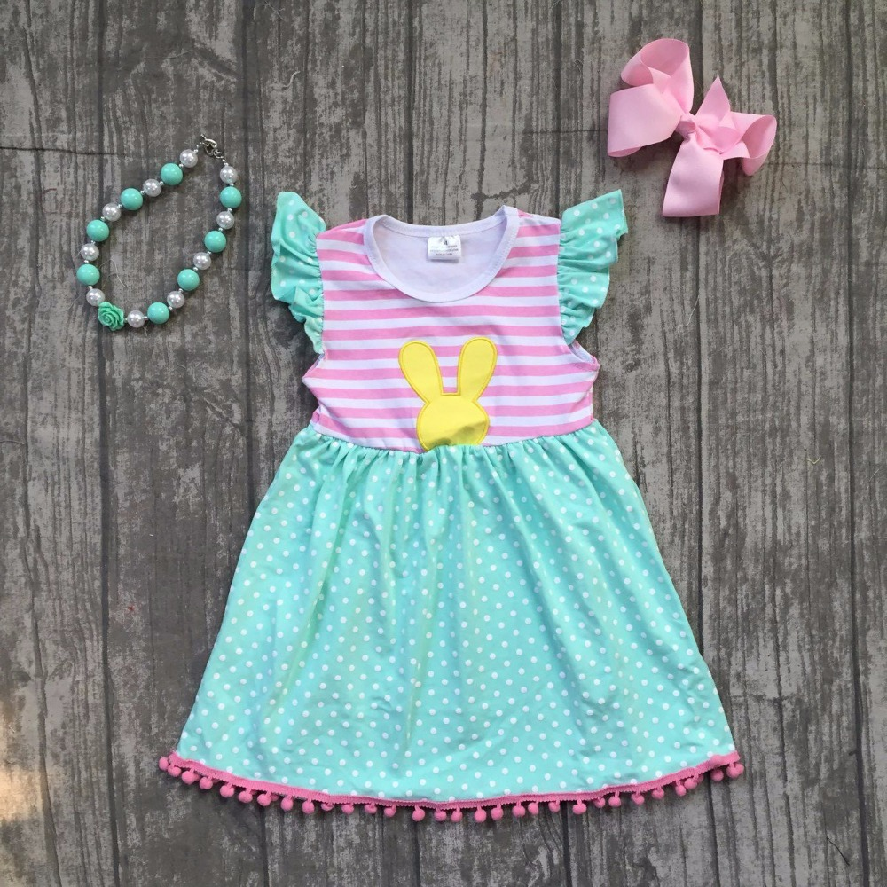 new summer cotton baby girls kids boutique clothes dress mint pink stripe rabbit print ruffles with matching accessories