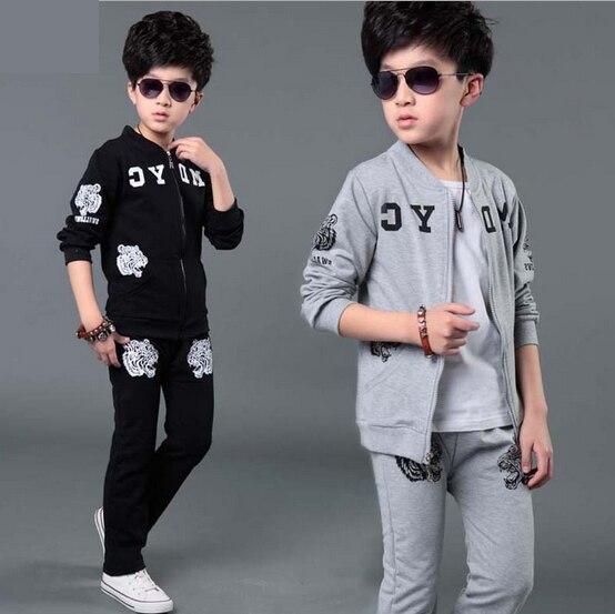 2018 otoño nueva ropa de los niños trajes deportivos para hombre niños de manga  larga Twinsets casuales de los niños pantalones de abrigo 2 piezas de ... 916ae44dfa429