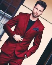 Traje De Novio Wine Red Notch Lapel Men Suits Custom Made Fashion Terno Ropa Formal Hombres Latest Coat Pants