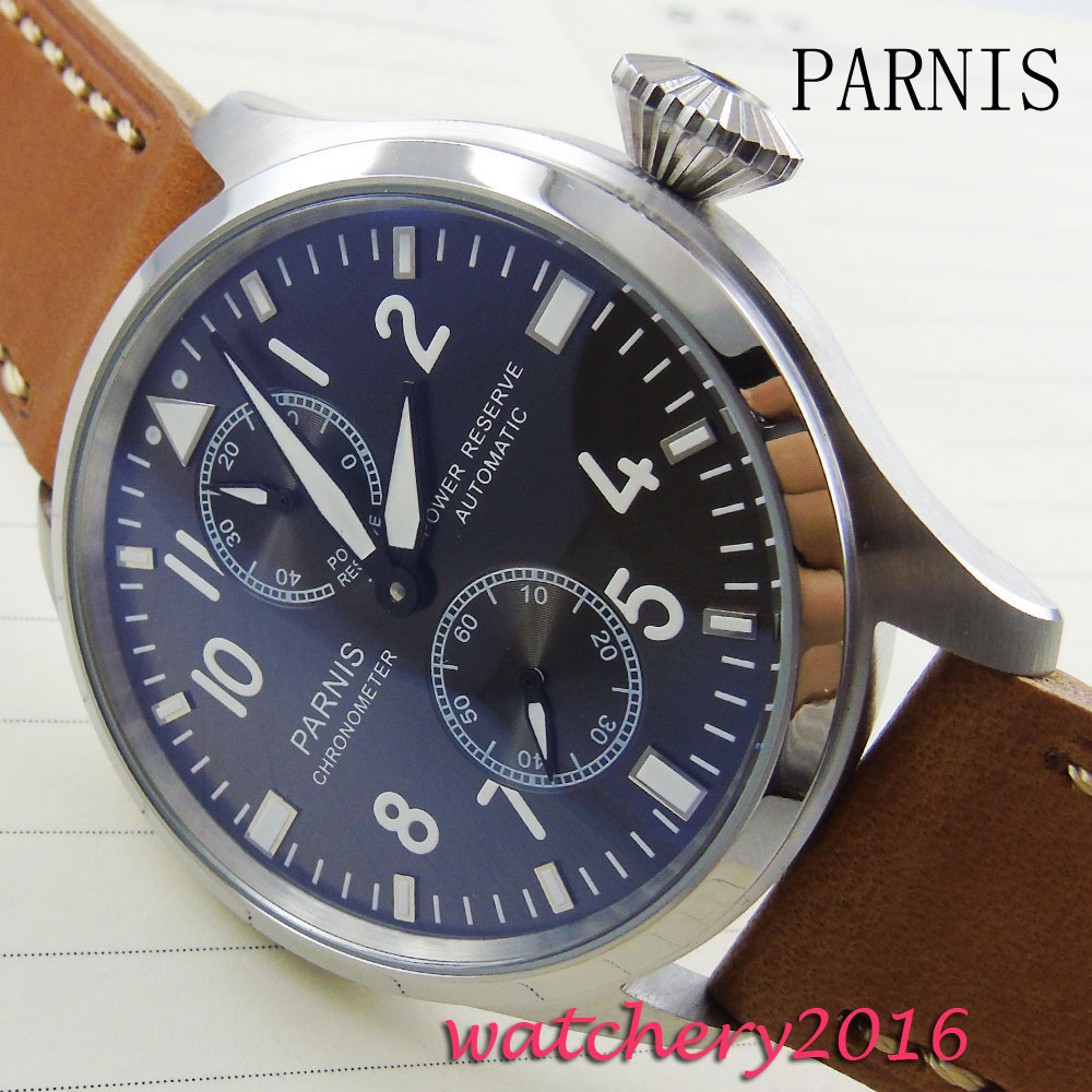 47MM Parnis Black Dial mens watches top brand luxury 2017 Newest Hot automatic mechanical Power Reserve Automatic Mens Watch automatic spanish snacks automatic latin fruit machines