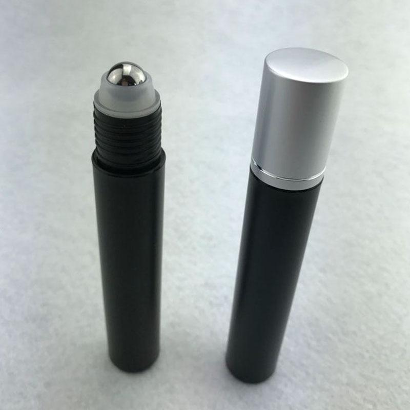 1pcs 15ml Black  PP Plastic Roll On Bottle With Stainless Steel Roller Small Essential Oil Roller-on Refillable Bottles