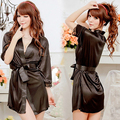 Women Sexy Robe Dress Sleepwear Nightwear Open Front Belted Nightgown