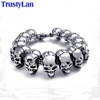 Sales Promotion Punk Rock Charm Bracelet Stainless Steel Skull Skeleton Men Bracelets Bangles Cool Male Jewelry