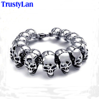 Sales Promotion Punk Rock Charm Bracelet Stainless Steel Skull Skeleton Men Bracelets Bangles Cool Male Jewelry