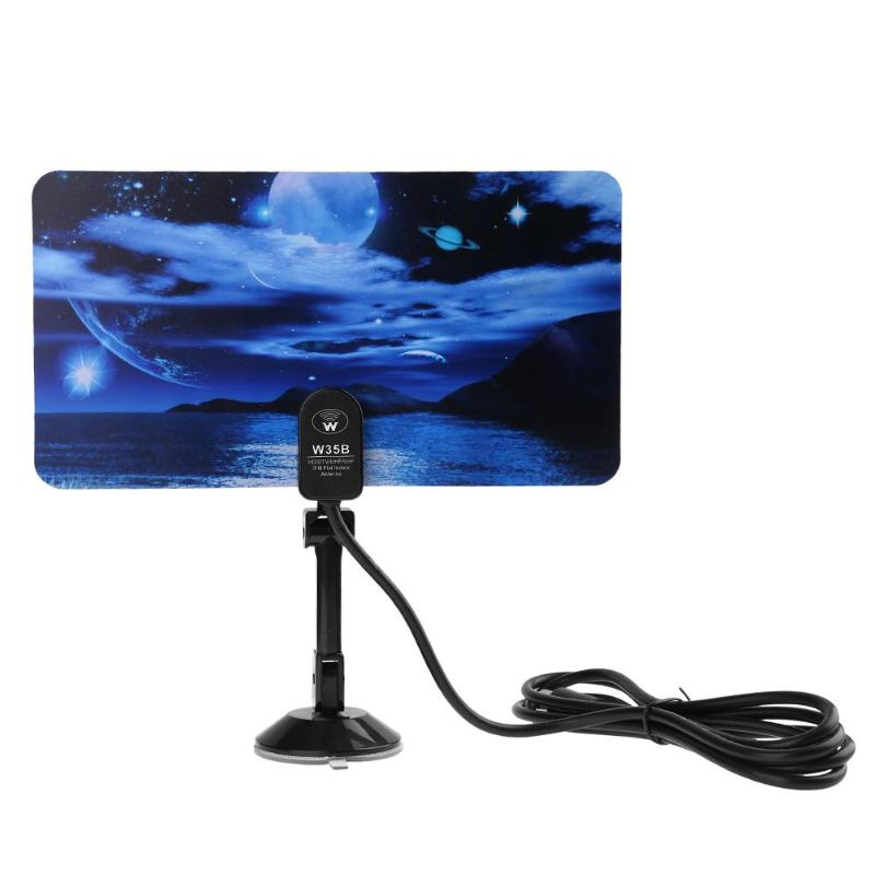 ALLOYSEED Digital Indoor 35dBi TV Antenna 1080P HDTV DTV Box Ready HD VHF UHF Flat Design Signal Antennas Home Use With Stand