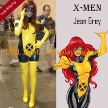 Free Shipping DHL Adult X- Men Jean Grey Costume PVC Zentai Superhero Halloween Phoenix Costume With Mask XMJG103