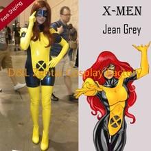Free Shipping DHL Adult X- Men Jean Grey Costume PVC Zentai Superhero Halloween Phoenix Costume With Mask XMJG103