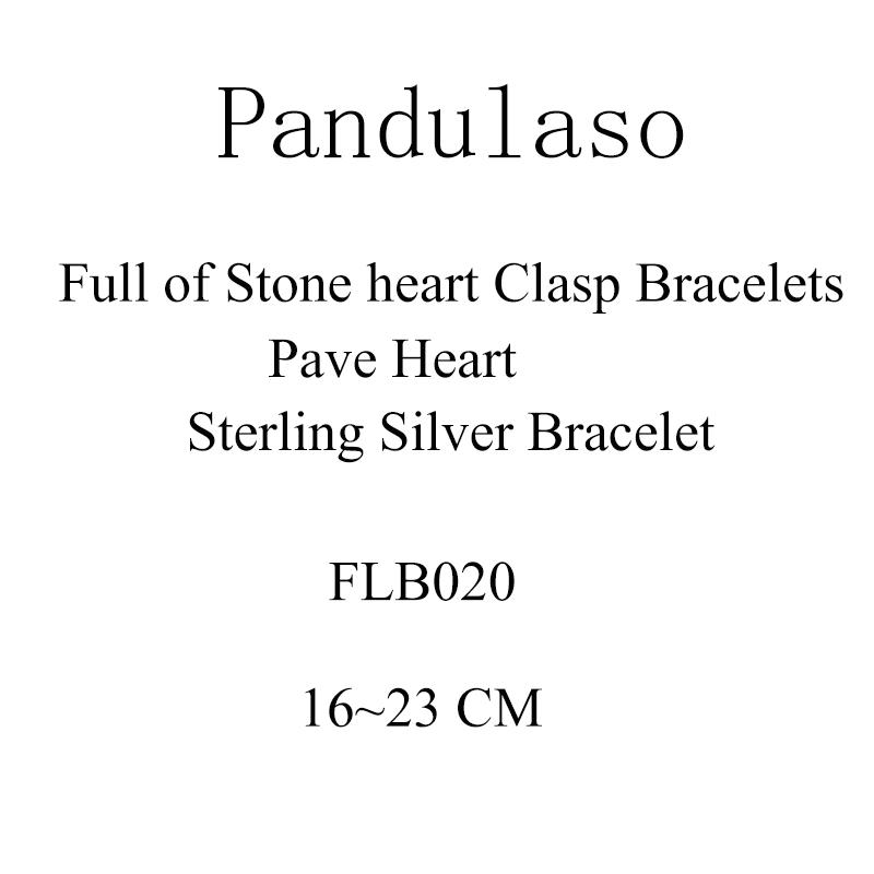Pandulaso Pave serce bransoletka z zapięciem DIY koraliki 925 sterling silver biżuteria bransoletki typu Bangle dla kobiety wyrób biżuterii bransoletka i bransoletka w Plecione bransoletki od Biżuteria i akcesoria na  Grupa 1