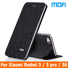 2016 Mofi case For Xiaomi Redmi 3 Flip leather cover + TPU soft case Stand holder case for xiaomi redmi 3s cover redmi 3 pro 5.0