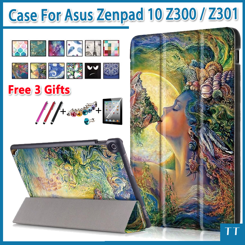 case For Asus Zenpad 10 Z300CL Z300CG Z300C Z300m Z300CNL Pu Leather Stand case for asus zenpad 10 Z301MLF Z301ML Z301+ 3 gifts