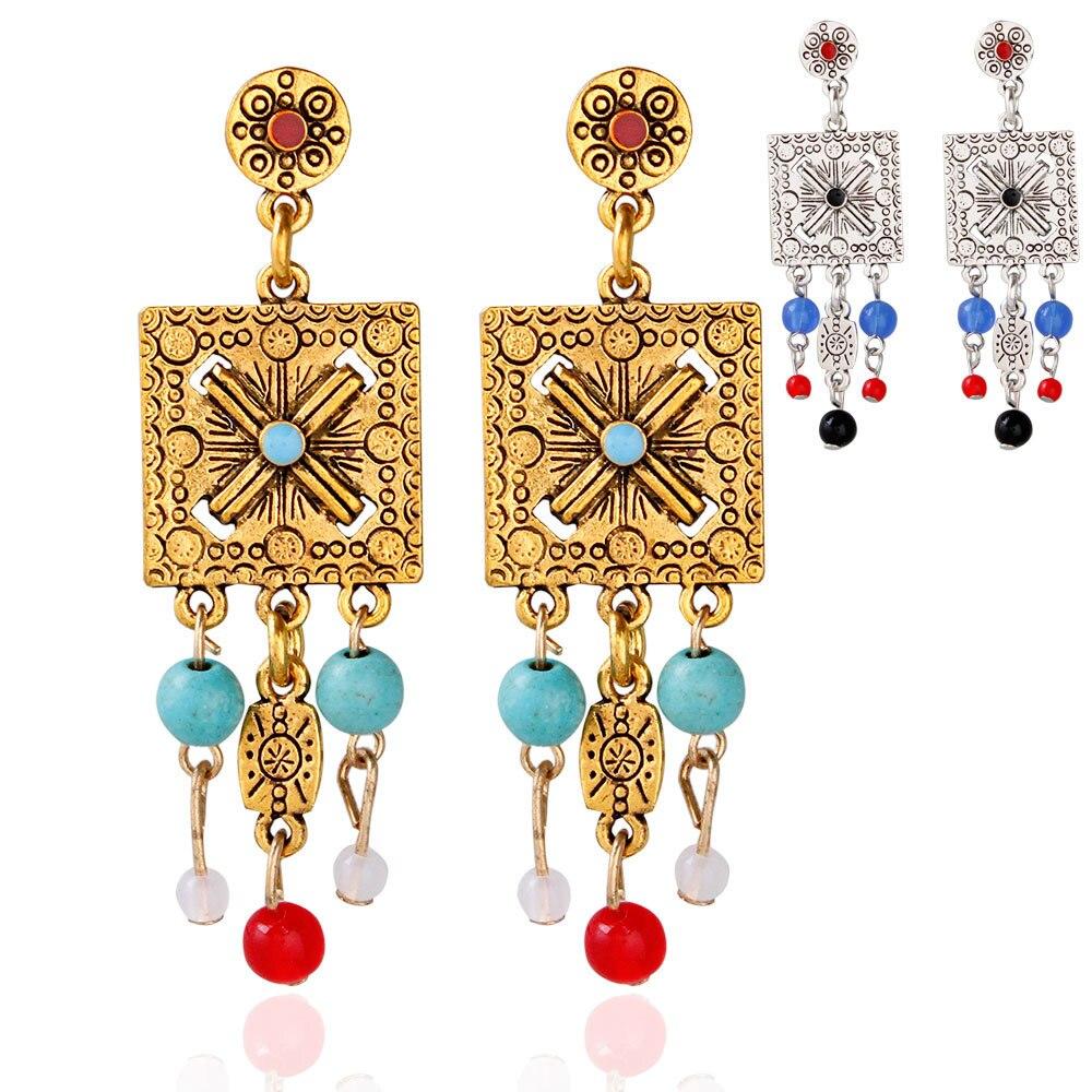 Beads Dangle Earring Women Jewelry Bohemian Wind Earrings Hollow Carved Fashion Statement Geometric Earrings 5 PCS/LOT