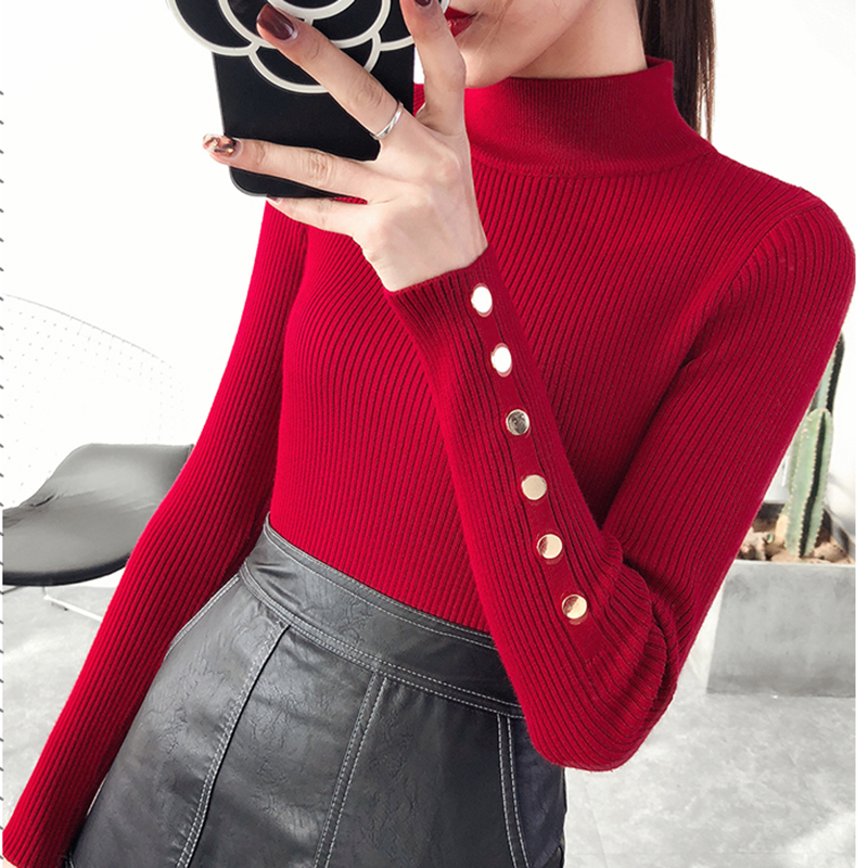 2018 New Autumn winter Women Knitted Sweater Pullovers Turtleneck Long Sleeve Solid Color Slim Elastic sweater mujer YM797