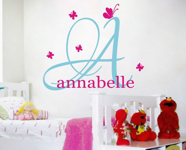 Charming Custom Personalised Name Butterflies Wall Stickers Kids Nursery Room Decor  Baby Wall Decals Wall Stickers For Part 20