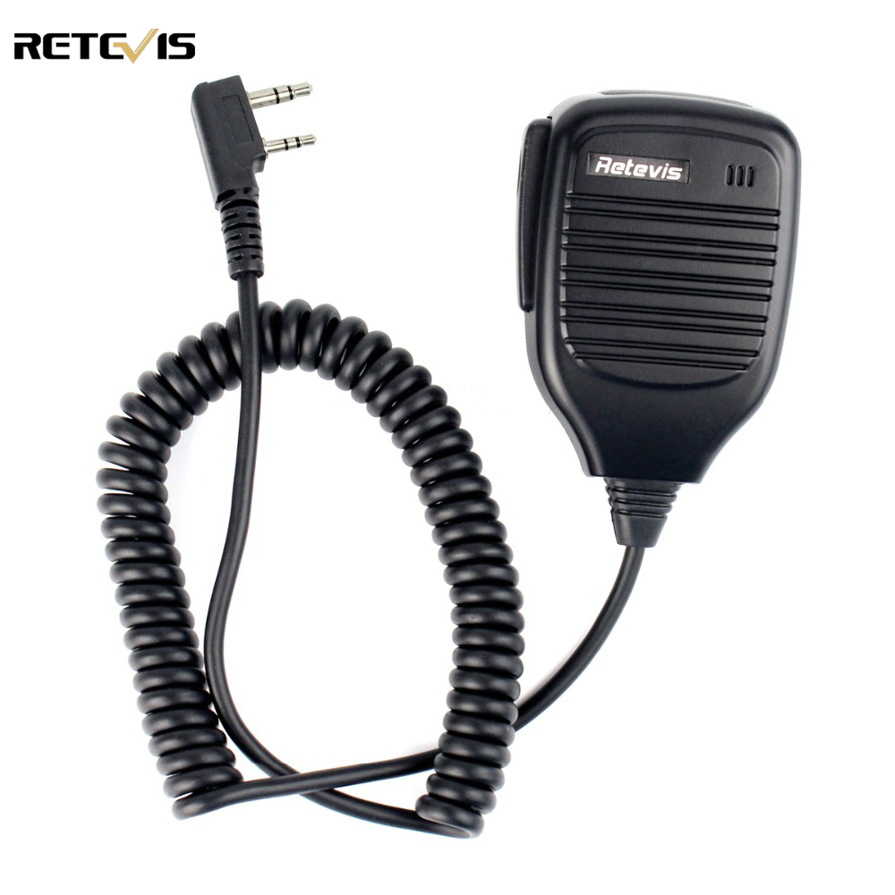 imágenes para 2 Pin Retevis PTT Altavoz Mic para Kenwood BAOFENG UV-5R BF-888S RT3 RT5 H777 TYT PUXING QUSHENG Ham Radio Walkie Talkie C9001A