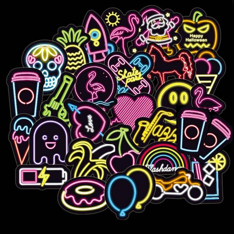 100 Pz/lotto Colorful Led Di Stile Divertente Adesivi Per Auto Del Computer Portatile Del Computer Valigia Del Telefono Della Bicicletta Di Skateboard Pad Decalcomania Una Grande Varietà Di Modelli