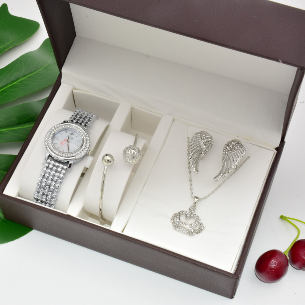 Top Brand Women Crystal Watch Bracelet Necklace Wing earrings Set Female Jewelry Sets Fashion Quartz Watch Lady's Women's Gifts
