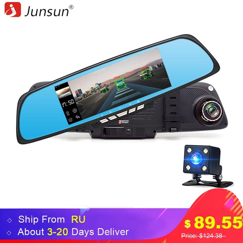 Novo 5 polegada IPS Espelho Retrovisor Do Carro DVR Câmera de Lente Dupla Android 4.4 Estacionamento Câmera do carro Gravador De Vídeo Traço Cam GPS Navitel mapa