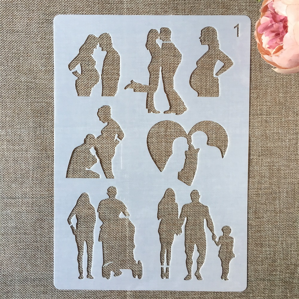 A4 29cm Lover Couple Family Parent DIY Layering Stencils Painting Scrapbook Coloring Embossing Album Decorative Paper Template