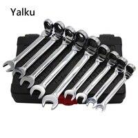 Yalku Adjustable Wrench Ratchet Spanner Tool Kit High Quality Universal Torque Wrench Ratchet Spanner Set 12pcs