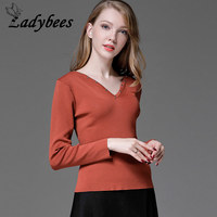 LADYBEES Women Long Sleeve T Shirts Plus Size 4XL Rivet Bottoming Shirts Skinny Stretch Knitted Tops