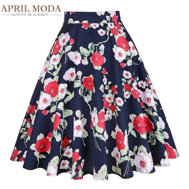 88428dc42 Rtero Short Vintage Women Skirt Faldas Floral Print High Waist Ball Gown  Party 60s 50s Rockabilly Swing Skirts Women's Clothing