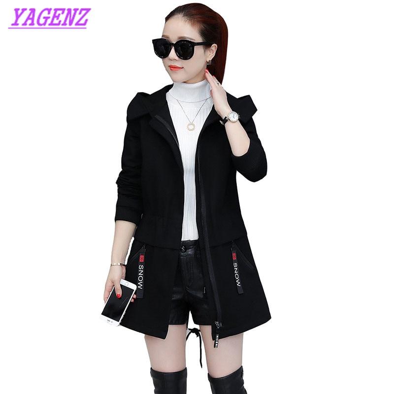 Autumn Winter Windbreaker Coat Women Fashion Hooded   Trench   Coat Solid color Slim Warm Female Windbreaker Plus size 3XL B231