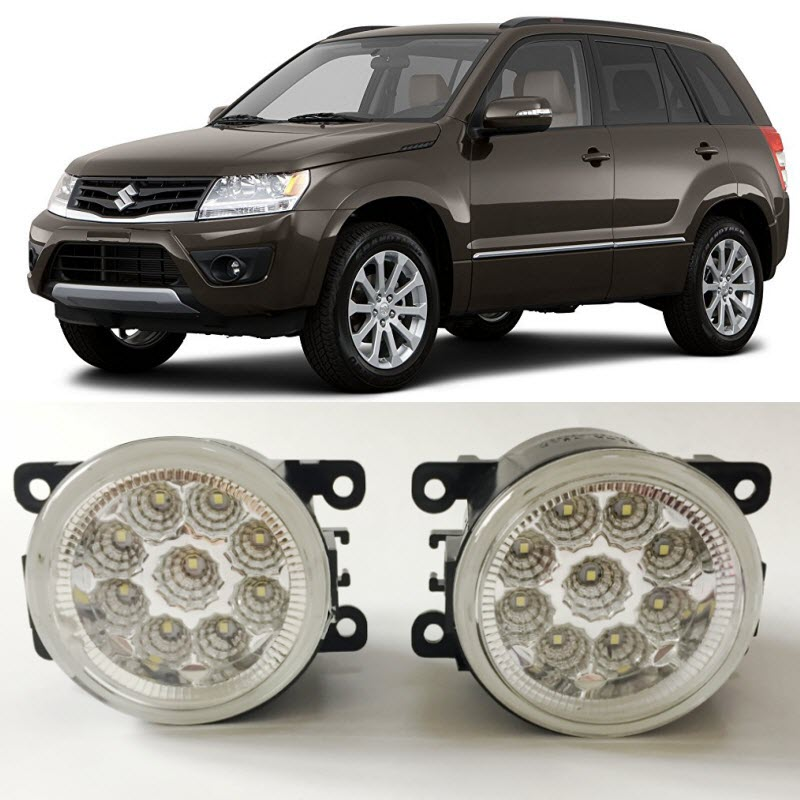 Car Styling LED Fog Light Lamp For Suzuki Grand Vitara 2005-2015 9-Pieces Leds Chips H11 H8 12V 55W Halogen Fog Lights for opel astra h gtc 2005 15 h11 wiring harness sockets wire connector switch 2 fog lights drl front bumper 5d lens led lamp