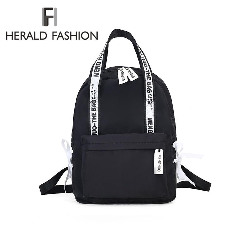Herald Fashion Women Backpack For School Teenagers Girls Stylish School Bag Ladies Canvas Fabric Backpack Female Bookbag Mochila