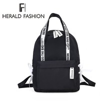 Herald Fashion Women Backpack for School Teenagers Girls Stylish School Bag Ladies Canvas Fabric Backpack Female