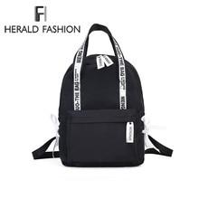 Herald модные женские туфли рюкзак для школы подростков обувь девочек Стильный женская школьная сумка Холст Ткань Женский Bookbag Mochila