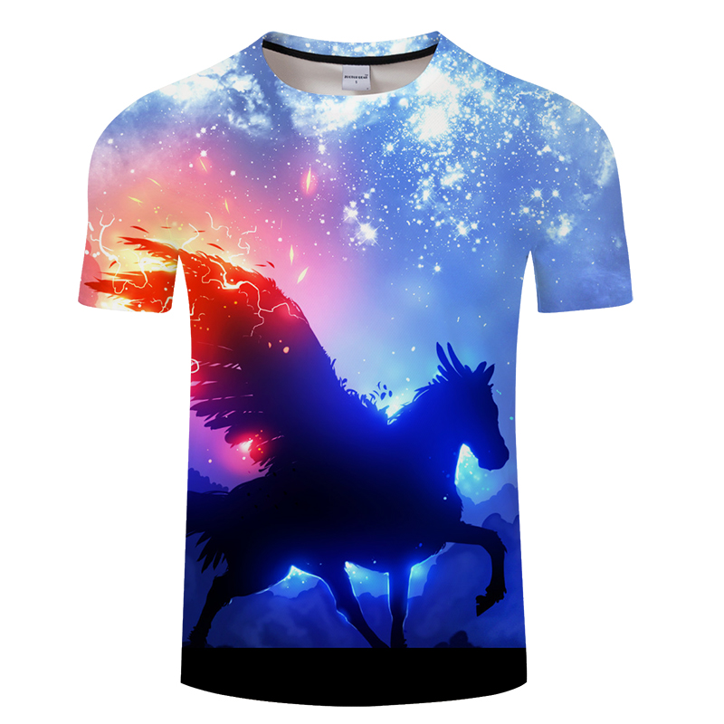 2018 Galaxy Fire Unicorn 3D Print t shirt Men Women tshirts Summer Casual  Short Sleeve O-neck Tops Tees 2018 Drop Ship 6XL 52f3eb0b7651