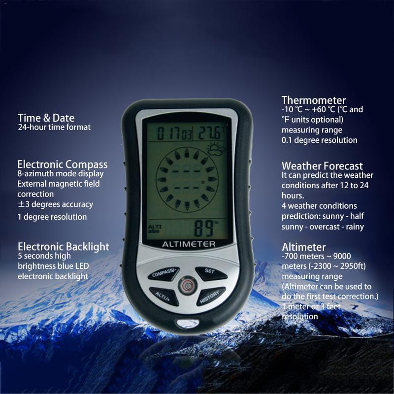 8 в 1 Ручной Электронный навигационный Gps Компас Датчик высоты термометр уличный барометр для рыбалки без батарей