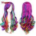 Halloween Wig Gift 28inch/70cm Heat Resistant Gradient Color Wig Long Wavy Curly Synthetic Hair Cosplay Anime Lace Hair Wigs