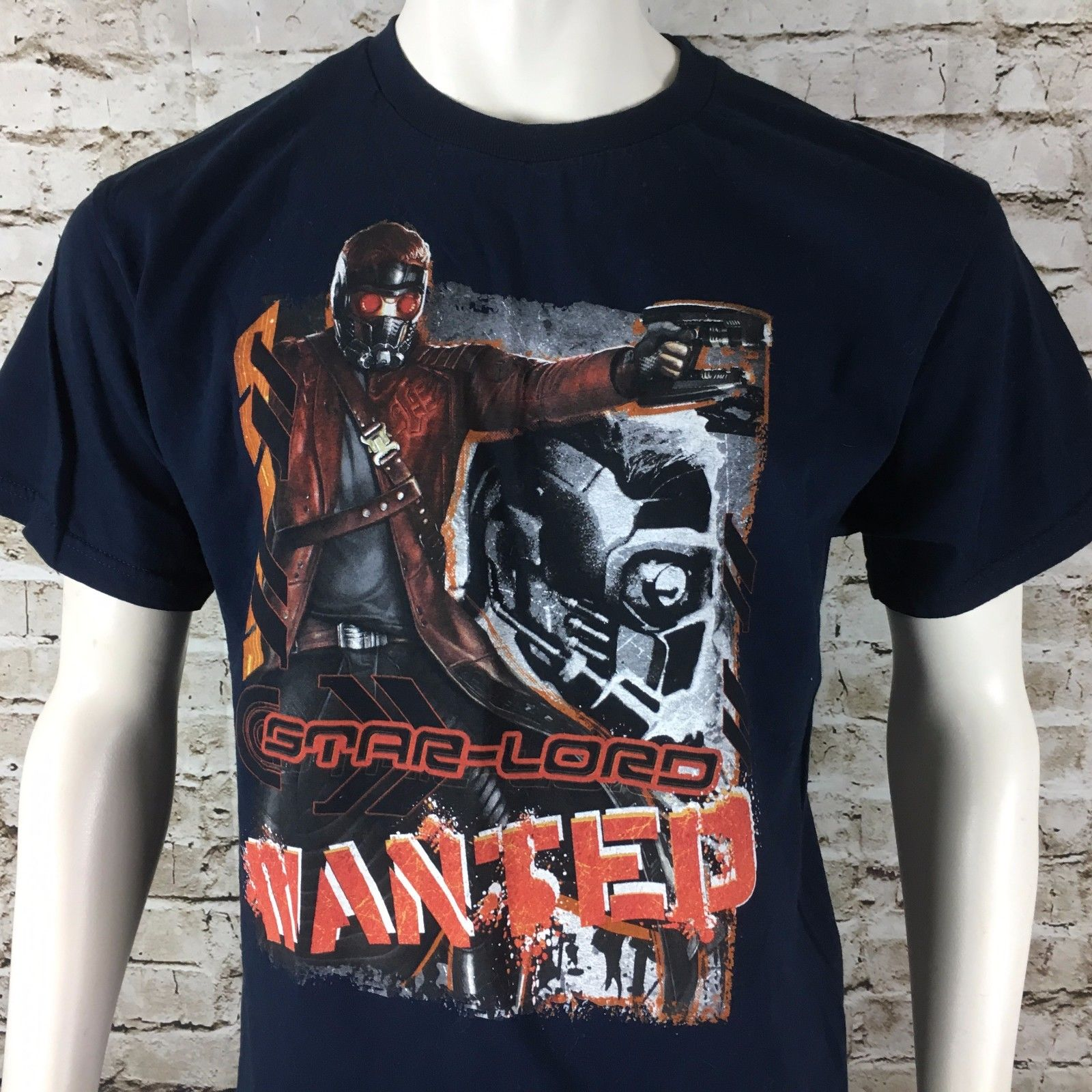 Marvel Guardians Of The Galaxy Star Lord Wanted Mens Large Short Sleeve T-Shirt Tops Male T shirt Men