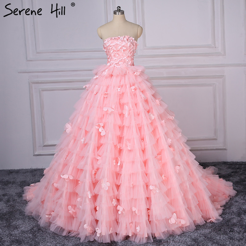 Pink Wedding Gown 2019: Romantic Pink Sexy Strapless 2019 Wedding Dress Cake Layer