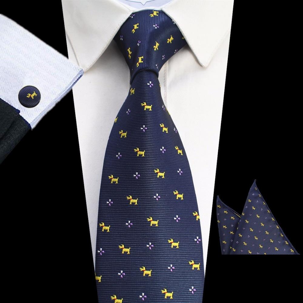 GUSLESON New Design 8cm Plaid Striped Tie Set Jacquard Woven Mens Necktie Gravata Hanky Cufflinks Set Mens Tie For Wedding Party