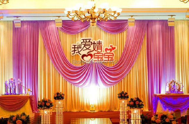 10ft*20ft Pink Wedding Backdrop for Wedding Decoration Wedding Drape and Curtain with Detachable Swag
