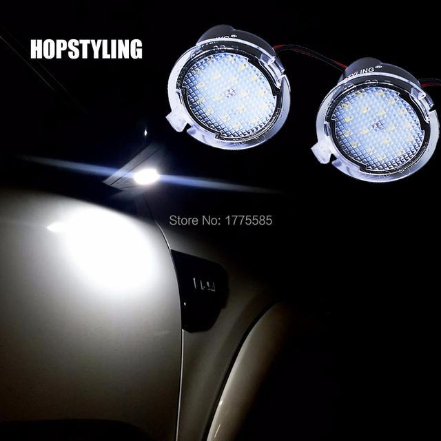 HOPSTYLING Super bright 2Pcs LED Under Side Mirror Puddle Light for Ford Edge Explorer Mondeo Taurus F-150 S-Max 2015