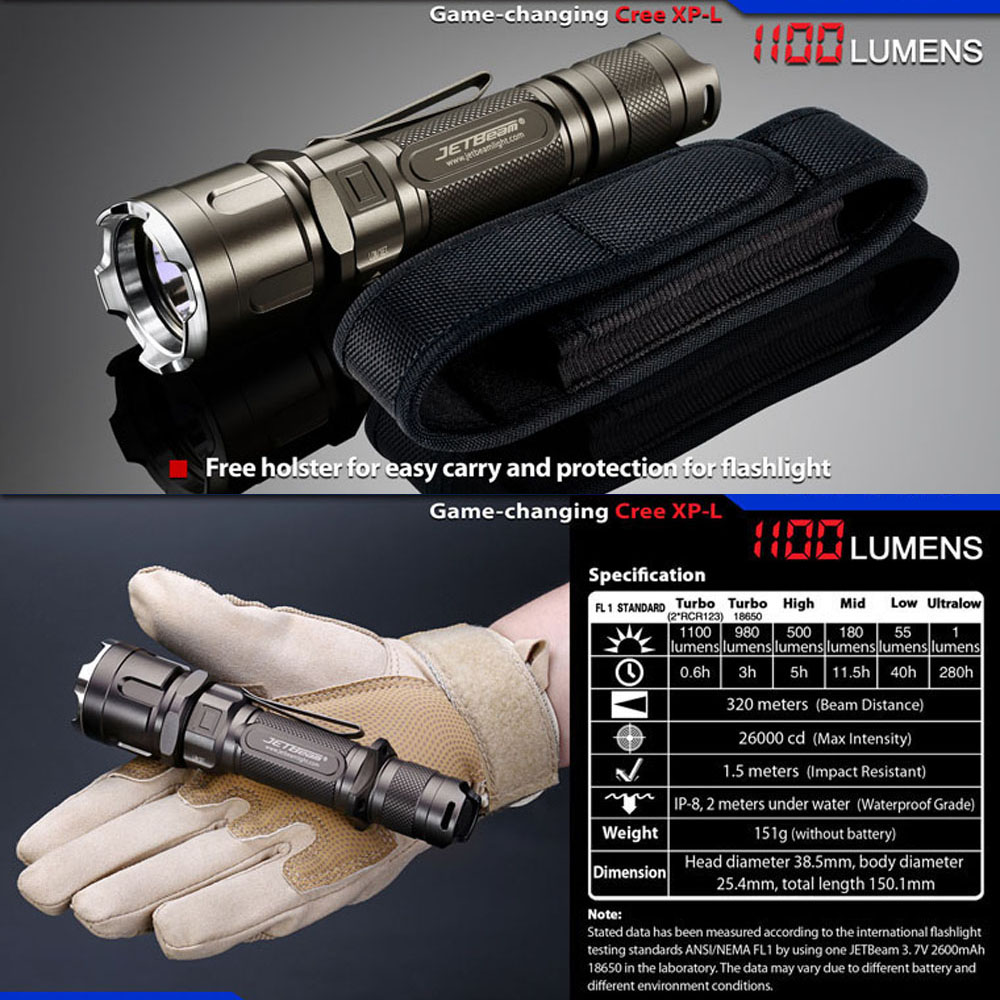 JETBEAM IIIM PRO CREE XP-L LED Flashlight 1100 Lumens Efficient Circuit Alloy Reflector Tactical Outdoor Hunting LED Lantern super jetbeam jet 3m pro updated jet iii m cree xp l led1100 lumens flashlight 170130